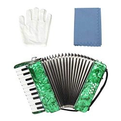 Beginner Accordion,22-Key 8 Bass Piano Accordion Musical Instrument for Beginners Students (Green)