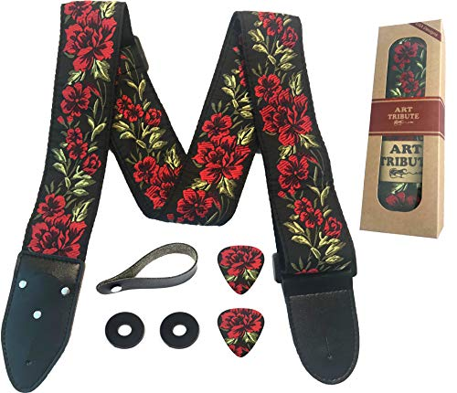 Guitar Strap Cotton Flower Roses W/FREE BONUS- 2 Picks + Strap Locks + Strap Button. For Bass, E ...