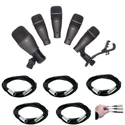 Samson DK705 5-Piece Drum Microphone Kit & Case with 5X Mic Cable, 20 ft. XLR Bulk + Hosa La ...