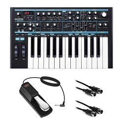 Novation Bass Station II Monophonic Analog Synthesizer with Sustain Pedal (Piano-Style) & 10 ...