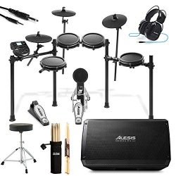 Alesis Nitro Mesh Eight Piece Electronic Drum Kit With Mesh Heads + Alesis Strike Amp 12 2000W P ...